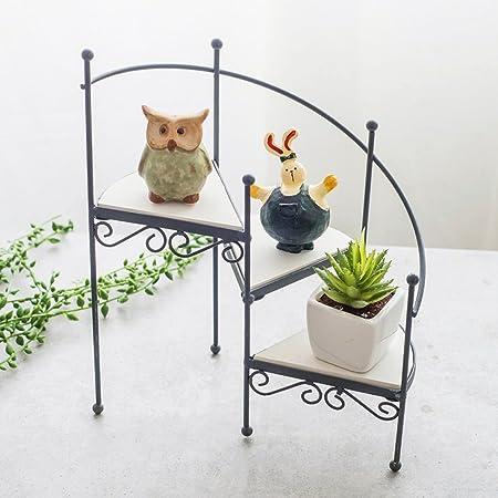 Yang baby Hierro Escalera de flores en forma de estilo europeo Retro Simple Minimalista en macetas Plantas Estantes Piso de aterrizaje Balcón de interior: Amazon.es: Hogar