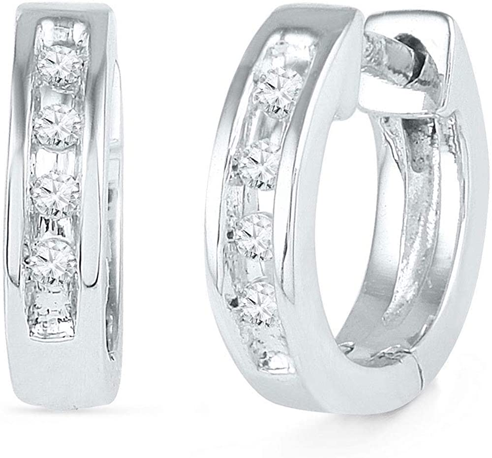 The Diamond Deal 10kt White Gold Womens Round Diamond Single Row Huggie Earrings 1/20 Cttw