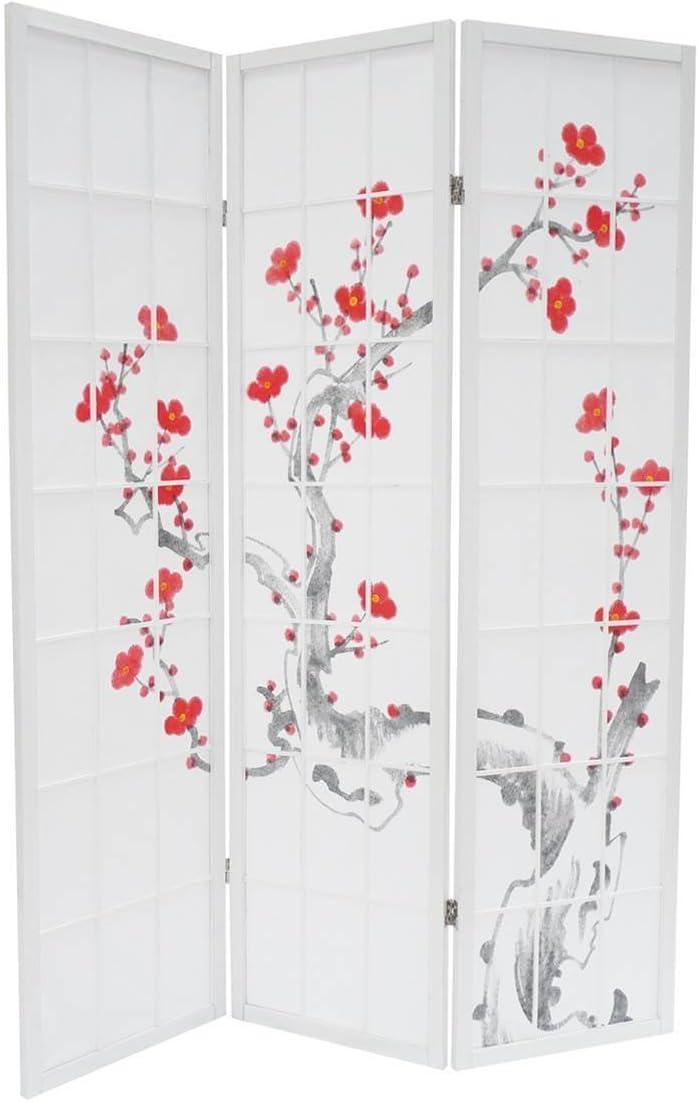 Biombo cerezo en flor blanco 3 Paneles - Dépôt515: Amazon.es: Hogar