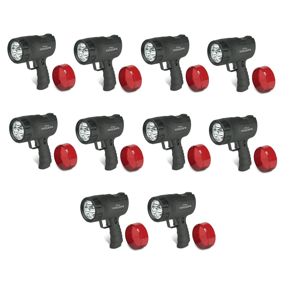 Cyclops SIRIUS 300 Lumen Handheld Ultra-Bright Spotlight w/6 LED Lights, 10-Pack (Includes Home/Car Chargers)