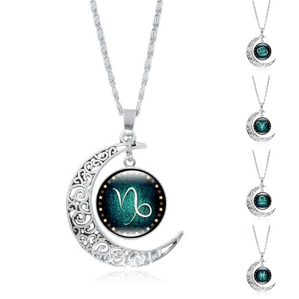 SuperXC Gifts for Women Nebula Crescent Moon Pendant Necklaces for Women Girls Jwelry