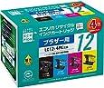 エコリカ リサイクルインク BROTHER LC12-4PK 4色セット(B/C/M/Y) 互換 ECI-BR124P/BOX