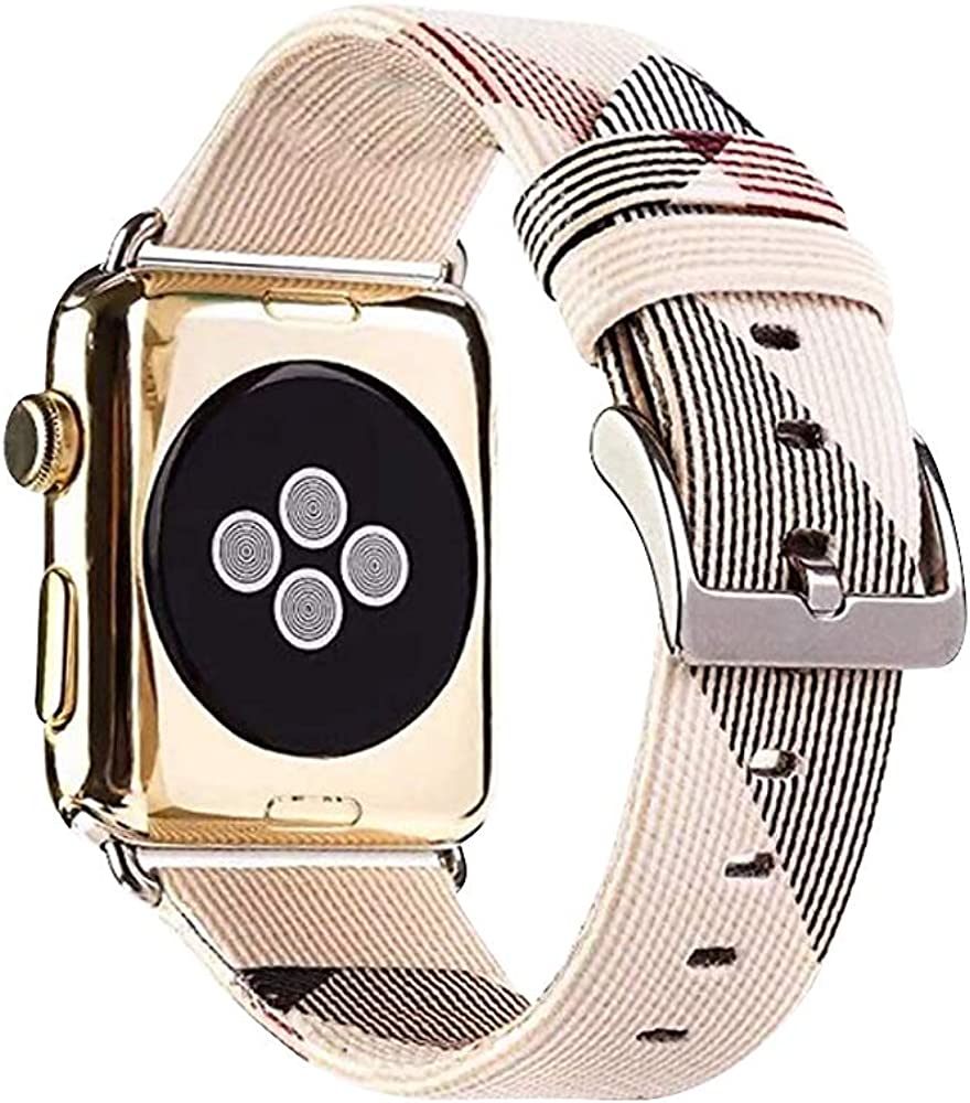 38mm 40mm 42mm 44mm Band Replacement for Watch Leather Iwatch Strap Replacement Band with Stainless Metal Classic Buckle for Apple Watch Series 5 4 3 2 1 Ladies