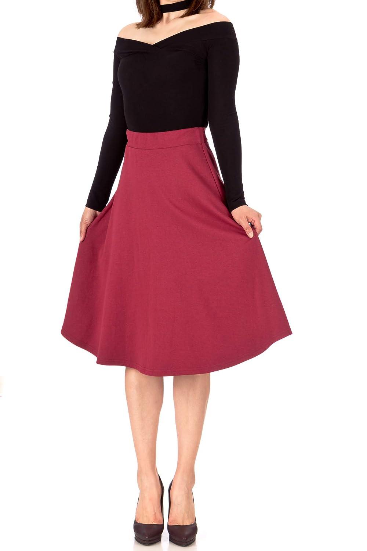 Danis Choice Everyday High Waist A-line Flared Skater Midi Skirt