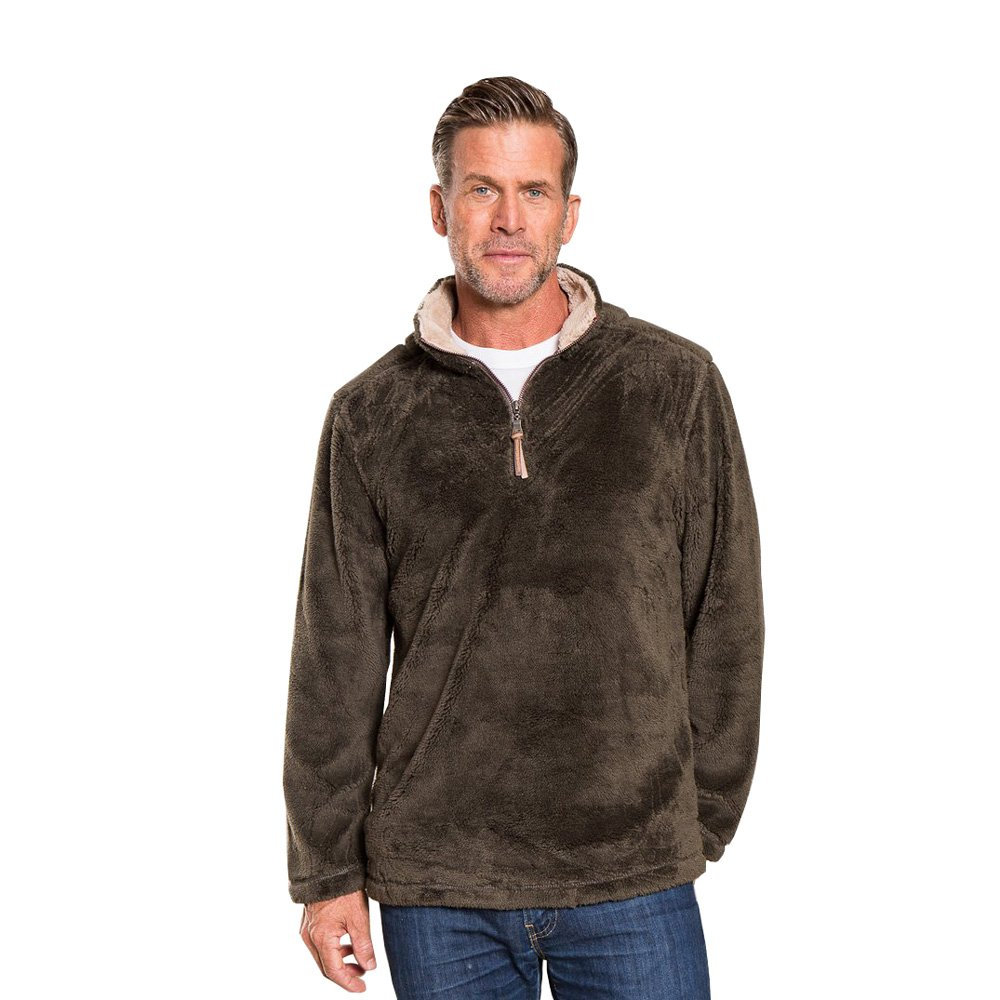 True Grit Men's Pebble Pile Half Zip Pullover (Vintage Olive,L)