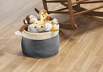 mDesign - Recipiente organizador tejido, para almacenamiento en armario del cuarto del bebé/la