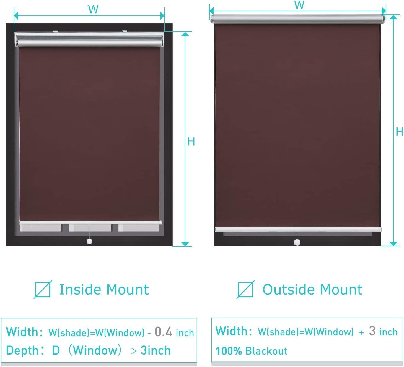 UV Protection Thermal Insulated Window Blinds and Shades for Home and Office Black Donutse 100/% Blackout Fabric Shades Cordless Roller Shades for Windows 48 W x 72 H