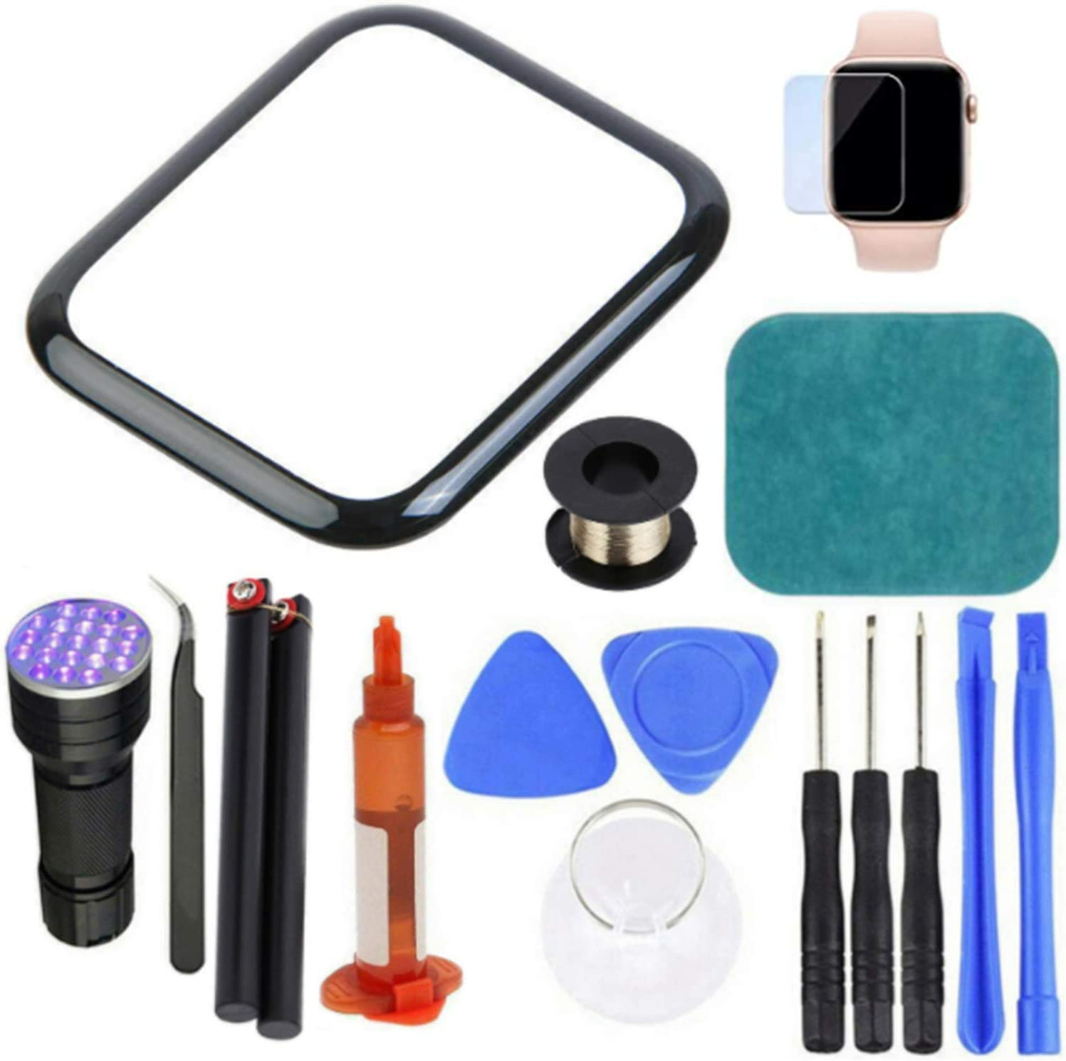 Goodliest Precise Out Front LCD Glass Cover Replacement Touch Screen Repair Kit Compatible with Apple Watch 2/3/4/5/6 Series 38mm 42mm 40mm 44mm Compatible with Apple Watch SE 44mm