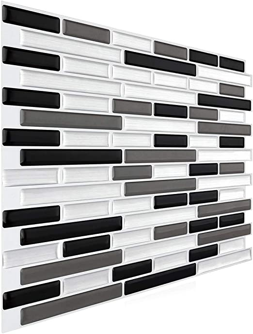 Amazon Com Faronze Peel And Stick Mosaic Sticker Kitchen Backsplash Tiles Bathroom Wall Sticker 11 X 9 25 Marble Design Black White Gray Mixed Kitchen Dining