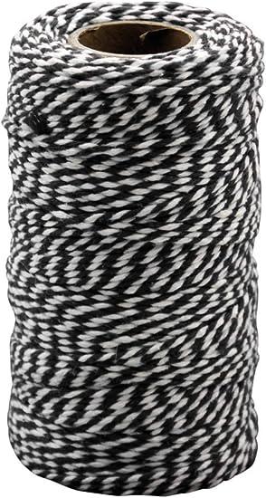 Playbox 100 Mtrs x 2mm Black/& White Twine 2mm Blackwhite Cotton Twine