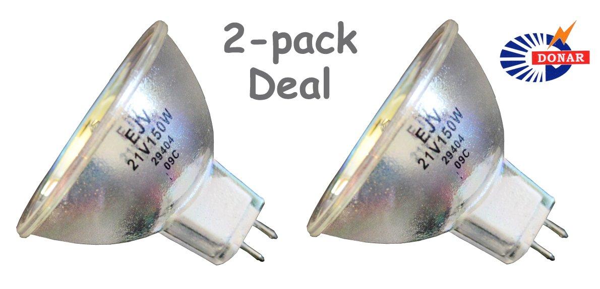 2pcs EJV 21V 150W Donar Bulb for Amsco Projector Movie Eldorado 8mm 84 86 MV 86-ZR DP-86 - Caulk Triad TCU 2 – DeJur Eldorado - Den-Mat 3904 Dentsply Prismetics York TCU 11 Triad TCU 2 Dental Lamp