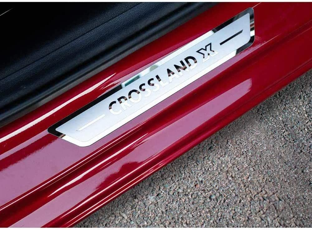 Rsioslez 4Pcs Acier Inoxydable seuils de Porte Garnitures de Corps seuil de Porte Style Accessoire pour Opel Crossland X 2017 2018 2019 2020 Antid/érapant Accessoires d/écoratifs Protection