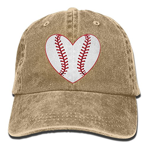 Uanqunan Baseball Heart Unisex Cotton Denim Baseball Cap Adjustable Strap Low Profile Plain Hats Natural