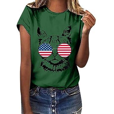 1799ade79 Independence Day Hot!Ninasill Women's American cat Print Flag Print ...