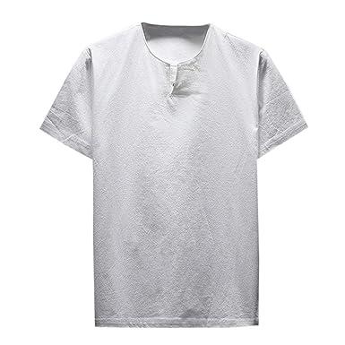 852f16fd25 Bestow Top cómodo de Verano para Hombre Camiseta de Manga Corta de Lino  Blusa con Camiseta