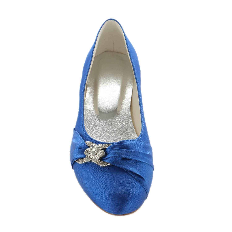 Emily Bridal Wedding Shoes Satin Round Toe Rhinestones Pleated Slip On Flat Shoes