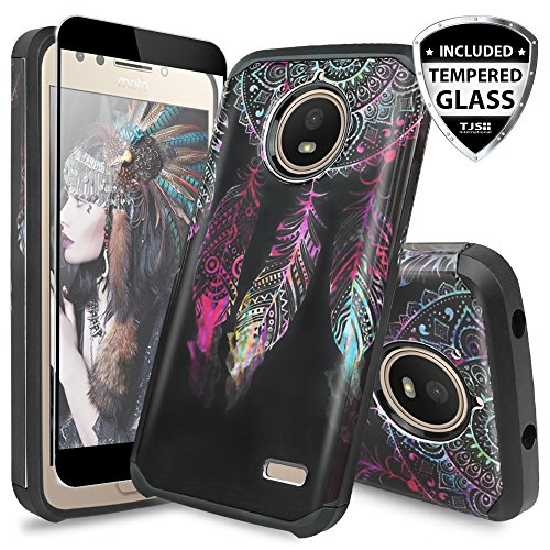 TJS Moto E4 Plus Case, [Full Coverage Tempered Glass Screen Protector] Dual Layer Hybrid Shockproof Drop Protection Impact Rugged Case Armor Cover Compatible Motorola Moto E4 Plus (Catcher)