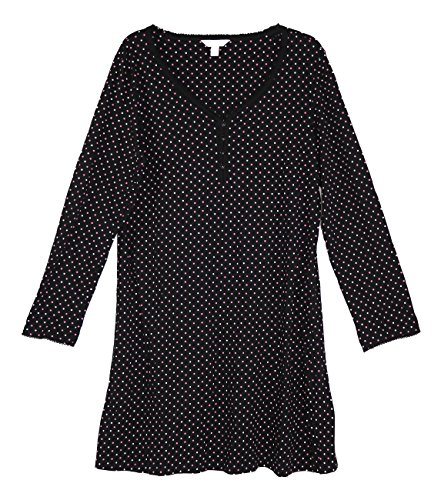 Charter Cotton Nightgown Club (Charter Club Polka Dot Print Long Sleeve Sleepshirt (Black, XX-Large))