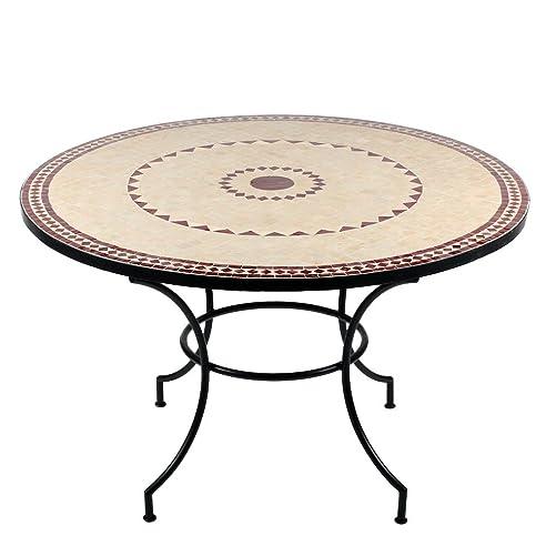 Gartentisch rund mosaik  Marokkanischer Mosaiktisch Ronu 120 cm rund Gartentisch ...