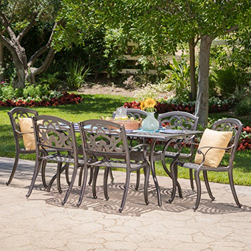 Cheap Augusta | 7 Piece Cast Aluminum Outdoor Dining Set | Perfect for Patio | in Shiny Copper