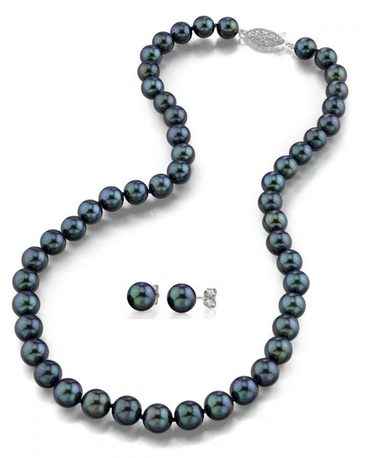 THE PEARL SOURCE 14K Gold 6.5-7mm AAA Quality Round Black Akoya Cultured Pearl Necklace & Earrings Set in 18'' Princess Length for Women