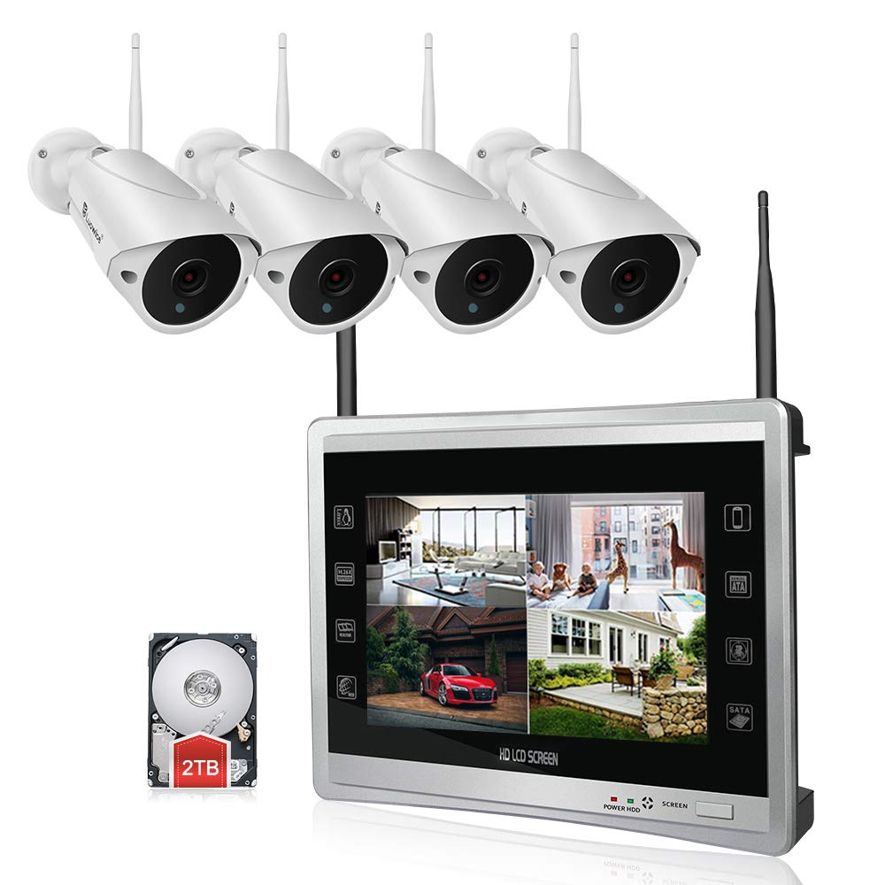 """Luowice 1080P Wireless Security Camera System with 11"""" Monitor HD 2MP 4CH  Home Video Surveillance System Built in 2TB HDD Indoor Outdoor Waterproof"""