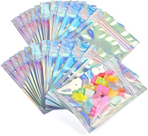 200 Pieces Mylar Food Packaging Bag, 6 X 8 Inch Resealable Holographic Bags Large Smell Proof Foil Pouch Clear Window Pouch Bags for Coffee Beans Storage