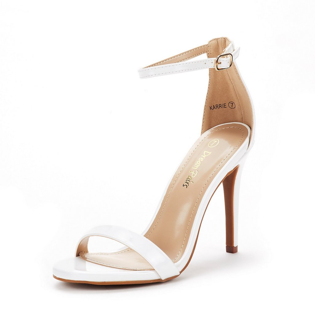 DREAM PAIRS Women's Karrie White Pat High Stiletto Pump Heel Sandals Size 6 B(M) US