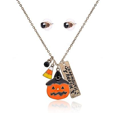 e0df079a6 Amazon.com: MOLOCH Halloween Initial Letter Bar Pumpkin Candy Corn Pendant  Necklace Stud Earrings Sets Halloween Jewelry Set (Gold): Jewelry
