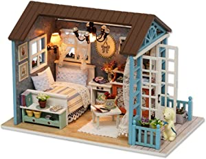 TuKIIE DIY Wooden Miniature Dollhouse Toy Model Kits with Furniture DIY Cabin Assembling House Miniature Handcrafts Toys Great Birthday Gift for Children Teens Adults