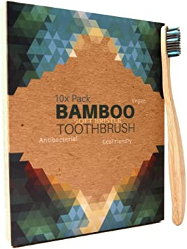 10 Cepillos de dientes de Bambú ecológico - cerdas de carbón ...