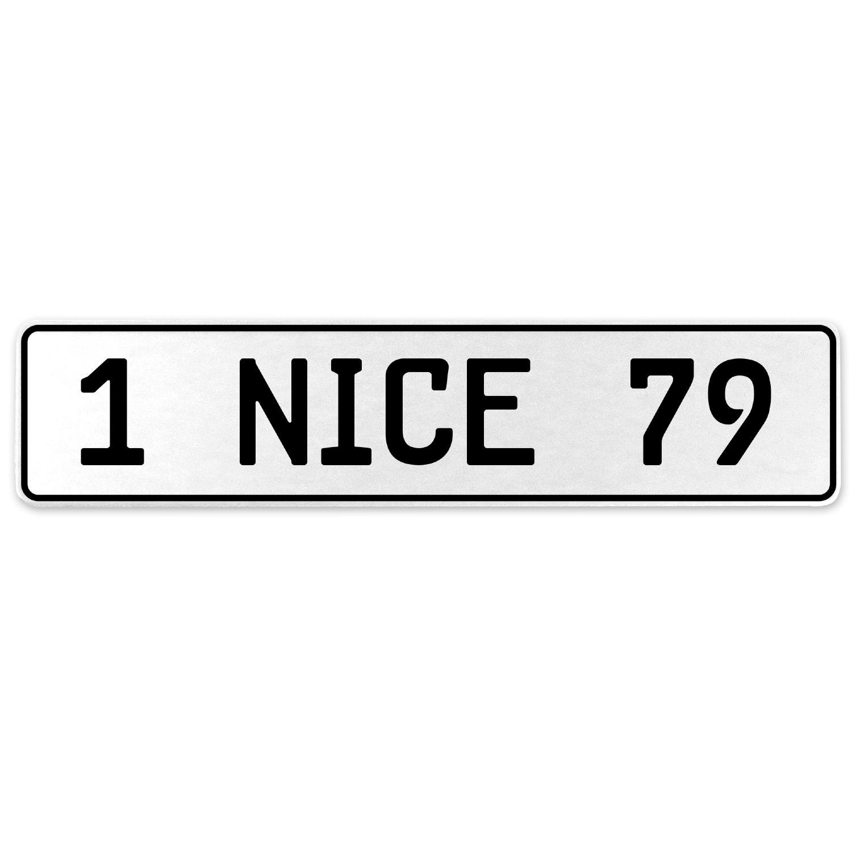 Vintage Parts 555369 1 Nice 79 White Stamped Aluminum European License Plate