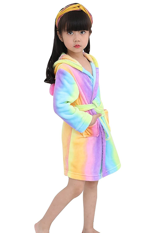 bb4e0f047 Amazon.com  Toddler Rainbow Unicorn Bath Robe Girls Boys Fleece ...