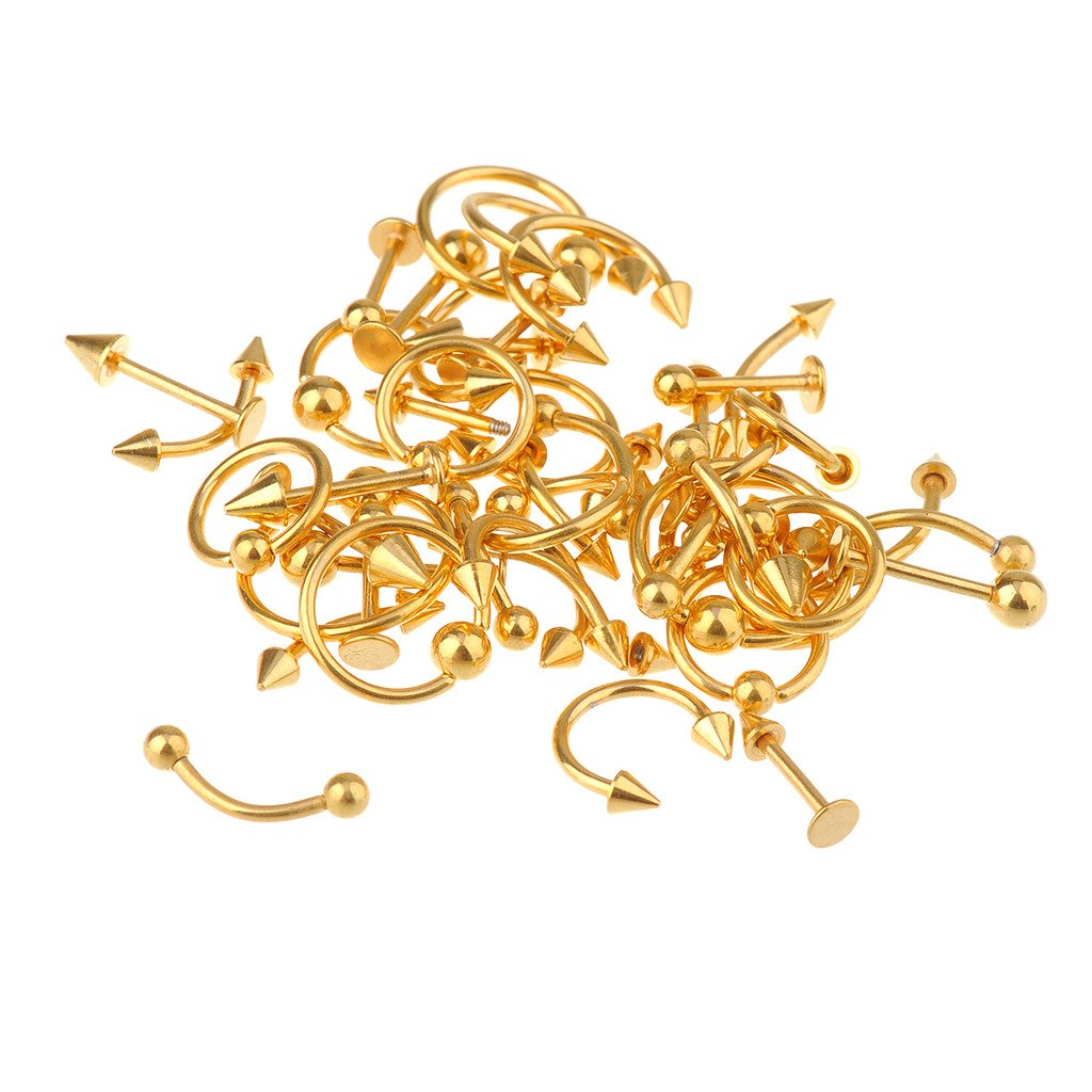 IPINK Spike Bars Labret Lip Ring Stud Body Piercing Stainless Steel Gold Plated 36-50pcs 16g Mixed AM0123