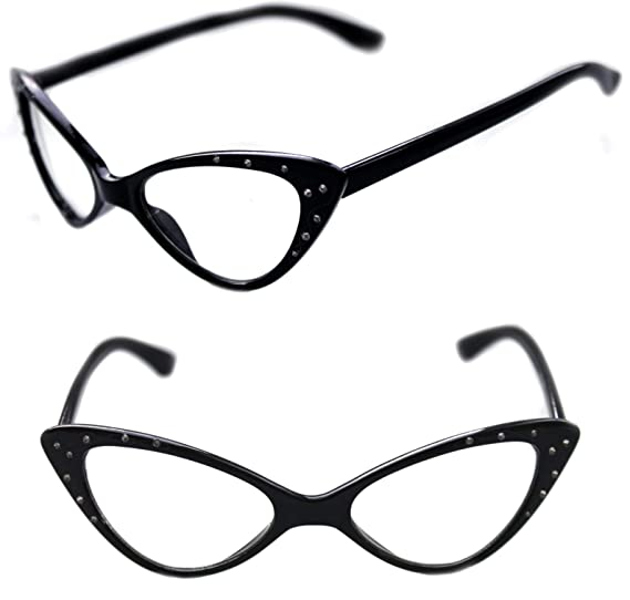 ef99bdaf6c Women s Cat Eye Small Retro Vintage Retro Frame Clear Lens Eye Glasses with  white accents and