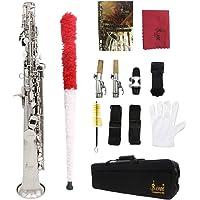 Saxofón de latón lacado Soprano Sax BB, plateado