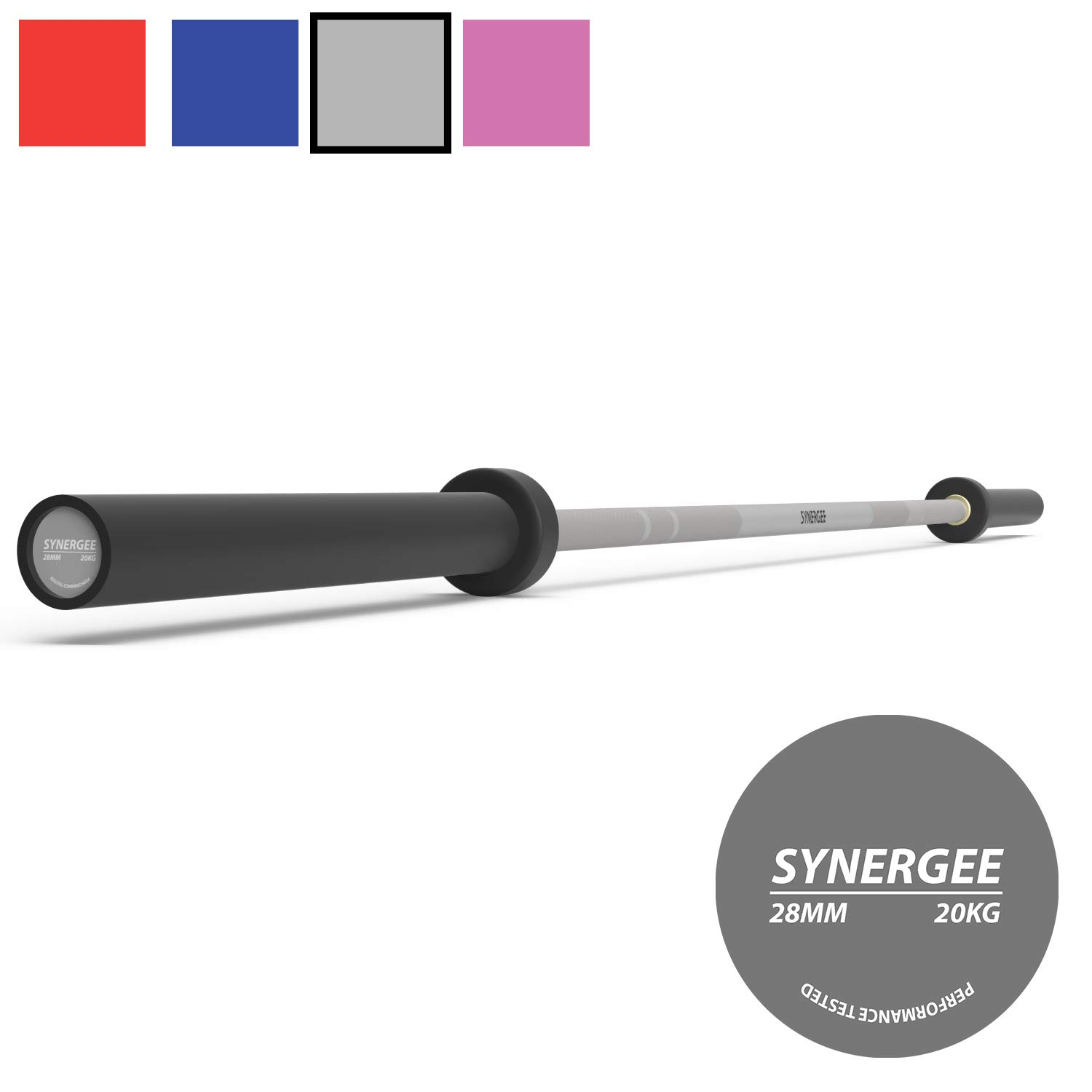 Synergee Games 20kg Colored Men's Gray Cerakote Barbell. Rated 1500lbs for Weightlifting, Powerlifting and Crossfit