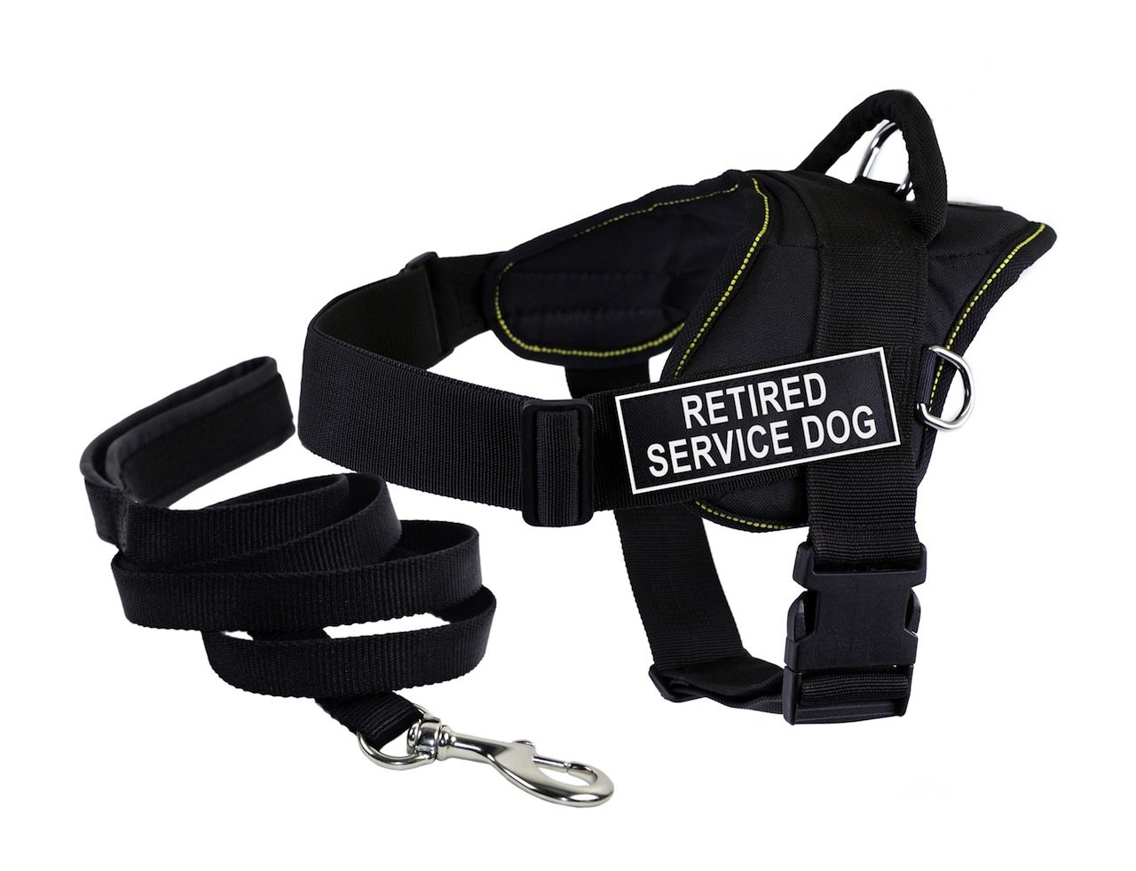 Dean & Tyler Bundle DT Fun Works Yellow Trim X-Large 34 to 47-Inch Retired Service Dog  Harness with Padded Puppy Leash and 6-Feet Stainless Snap, Black