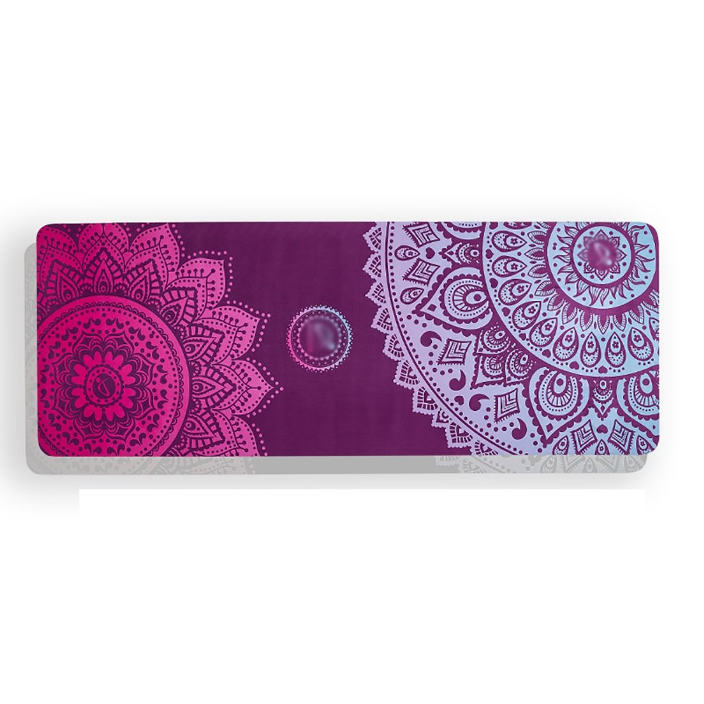 Yoga Mat Suede Printed Beginner Non-Slip Portable Fitness Blanket Anti-Sweat Pink, Purple, Blue 5mm Thick (Color : Pink)