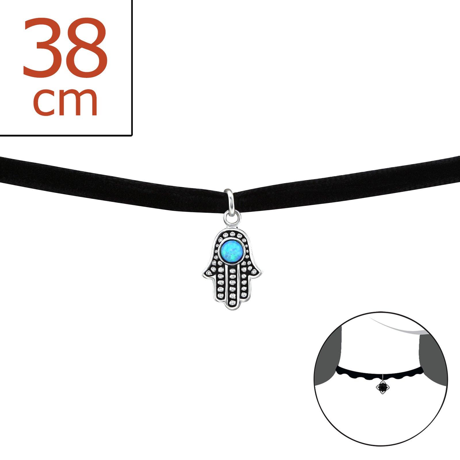 Atik Jewelry Silver Hamsa Choker With Opal