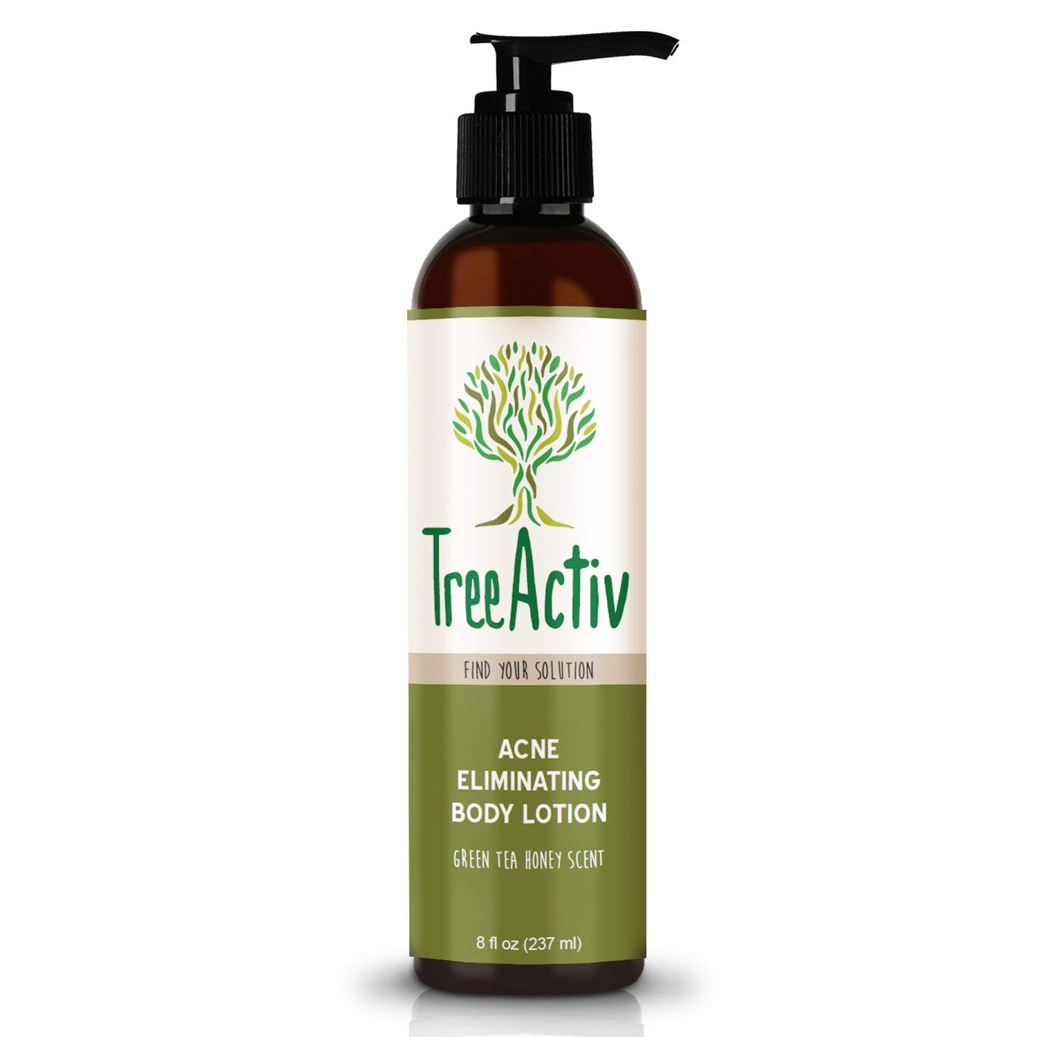 TreeActiv Acne Eliminating Body Lotion 8 fl oz, Clears Body, Back, Butt and Shoulder Acne, Anti-Acne Moisturizer, Prevents Future Breakouts, Green Tea and Honey Scent by TreeActiv