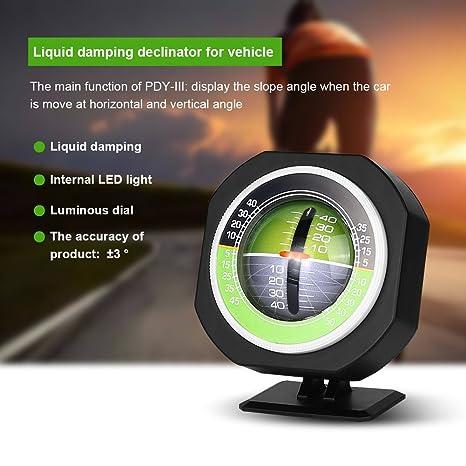 Tbest Inclin/ómetro del Coche Al Aire Libre Auto Mini Compacto Bola Br/újula LED Luminoso Coche Compass /Ángulo Pendiente Medidor Equilibrador Medidor de Equipo