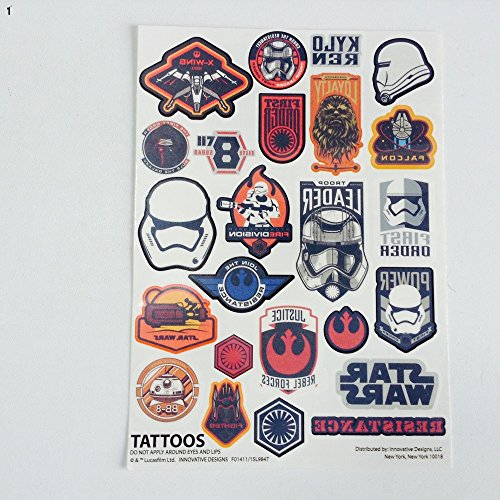 Star Wars Tattoos Pack of 24 Temporary Removable (Star Wars Tattoos)
