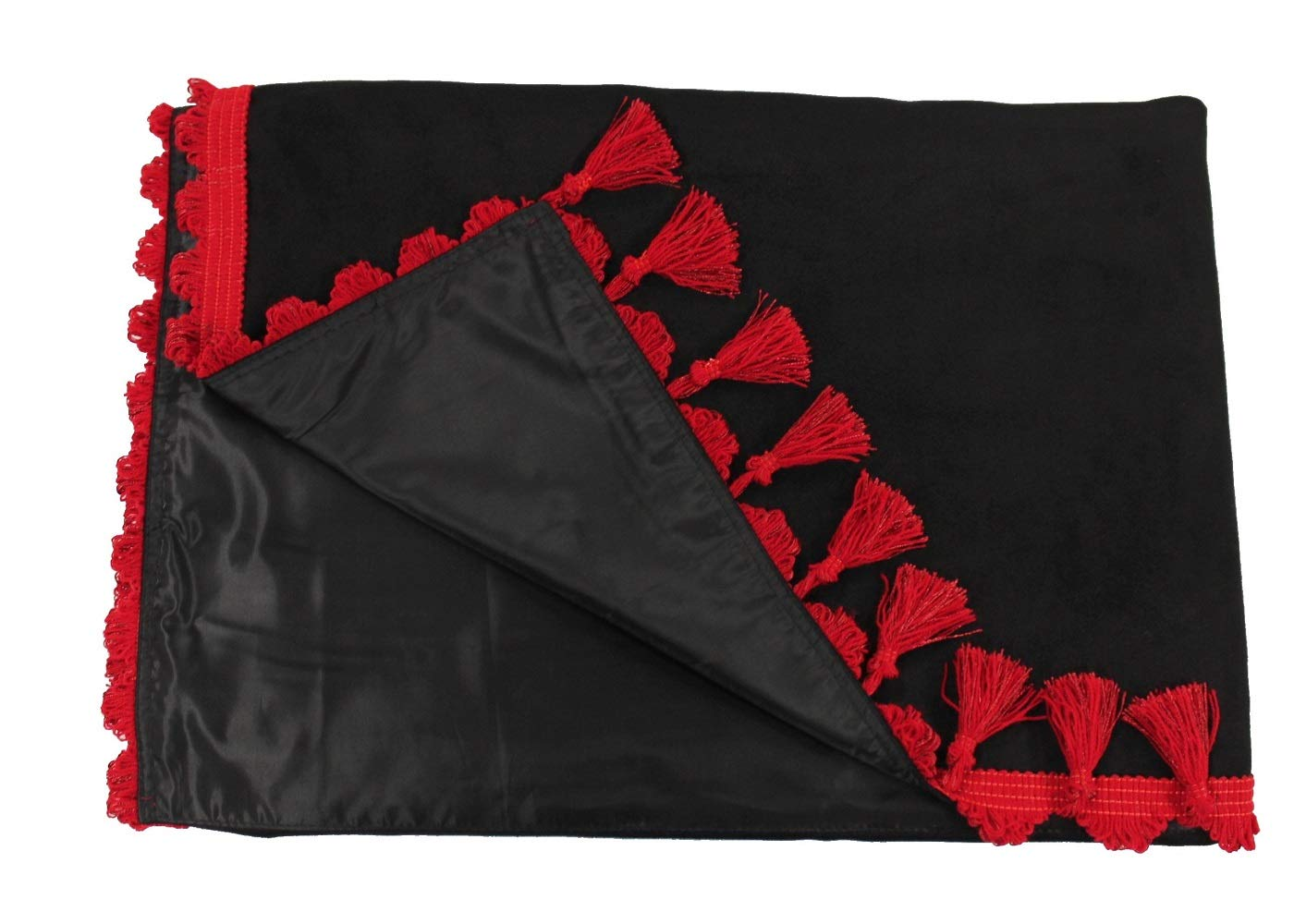 Adomo LKW Gardinen mit Bettvorhang f/ür TGX XLX Fahrerhaus schwarz-rote Fransen