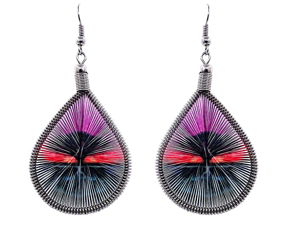 Mia Jewel Shop Tree of Life Symbol Graphic Teardrop Thread Dangle Earrings