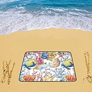 """Honey Day House Custom–personalizado playa pescado océano corales 78""""x 60"""" playa alfombrilla"""