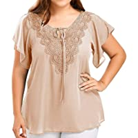Womens Tops, Womens Fashion Lace V-Neck Solid Blouse Lace up Patchwork Short Sleeve Tops Ladies Tops Plus Size
