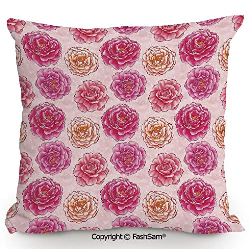 FashSam Throw Pillow Covers Romantic Rose Petals Fragrance Bouquets Love Classic Blooms Graphic for Couch Sofa Home Decor(20
