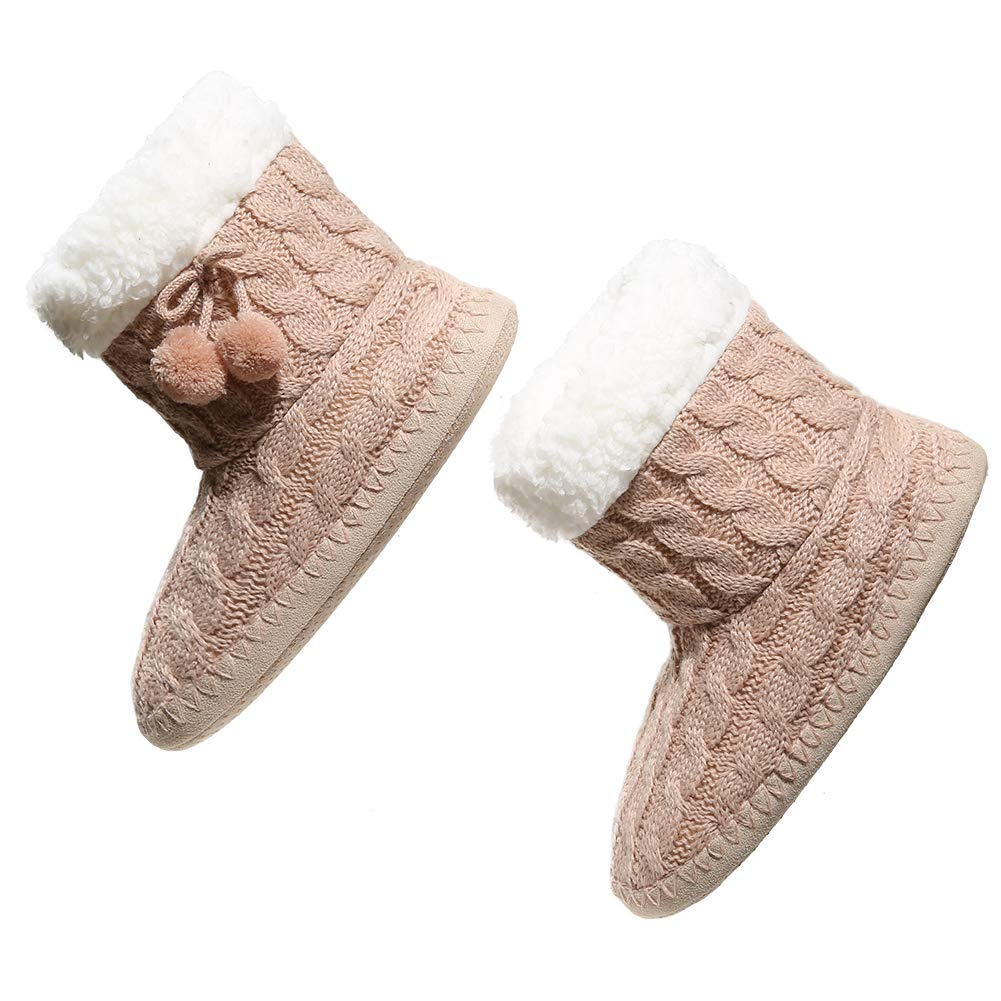 MaaMgic Grils Women Flanging Fluffy Noverty Indoor Slipper Boots Premium Soft Knitting Non Slip Thermal Home Furry Shoes