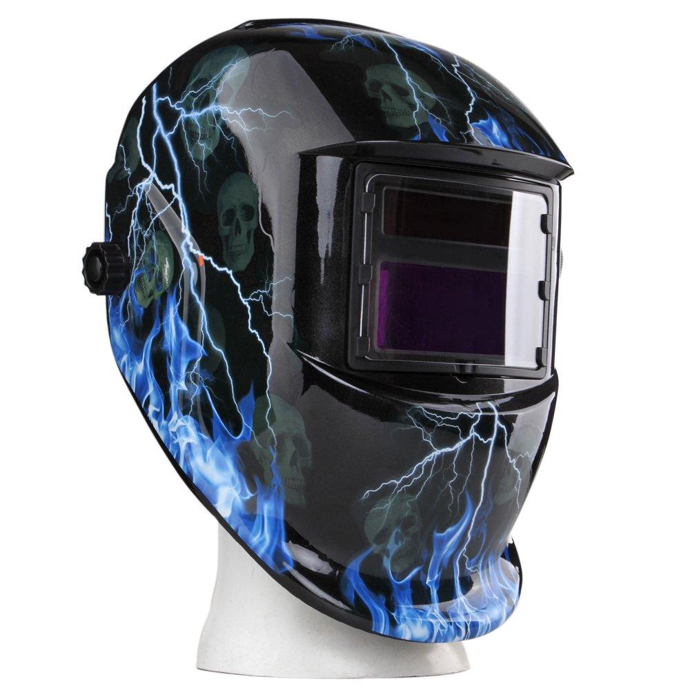 Flexzion Auto Darkening Welding Helmet Solar Powered Weld/Grind Selectable Mask Tool Lightning Skull Face Protector for Arc Tig Mig Mma Grinding Plasma Cutting with Adjustable Shade Range 9-13